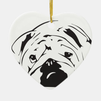 British Bulldog Stencil Christmas Ornament