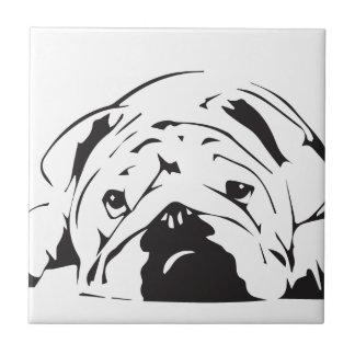 British Bulldog Stencil Small Square Tile