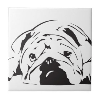 British Bulldog Stencil Tile