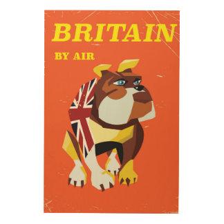 British Bulldog Vintage style travel poster Wood Prints
