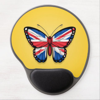 British Butterfly Flag on Yellow Gel Mouse Pads