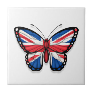 British Butterfly Flag Small Square Tile