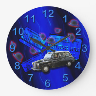 British cab London icons blue Large Clock
