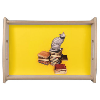 British Cat on a stack of books Serving Tray
