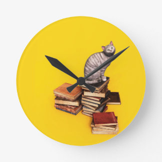 British Cat on a stack of books Wall Clock