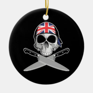 British Chef Double-Sided Ceramic Round Christmas Ornament