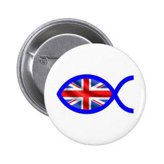 British Christian Fish Symbol Flag Button