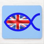 British Christian Fish Symbol Flag Mouse Mat