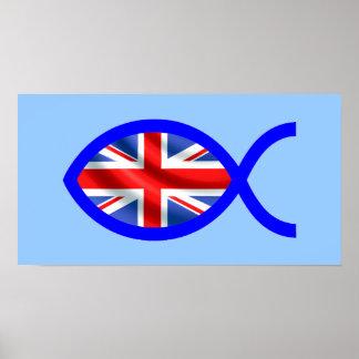 British Christian Fish Symbol Flag Print