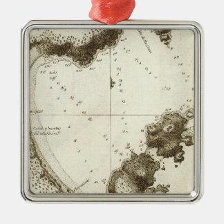 British Columbia Book Map Silver-Colored Square Decoration