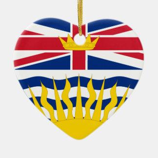 British Columbia Flag Heart Ceramic Heart Decoration