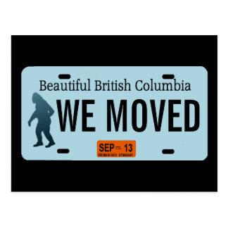 British Columbia Sasquatch License Plate Postcard