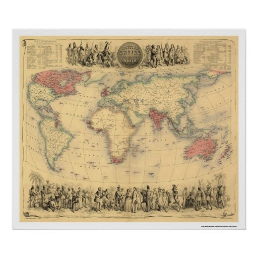 British Empire Throughout the World 1855 Poster