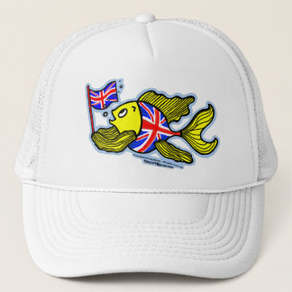 British Fish with a Union Jack Flag Trucker Hat