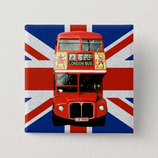 British Flag and London Bus Button