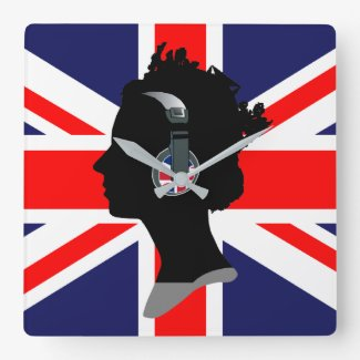 BRITISH FLAG AND QUEEN WITH HEADPHONES Wall Clock