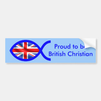 British Flag Christian Fish Symbol Car Bumper Sticker