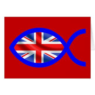 British Flag Christian Fish Symbol Card