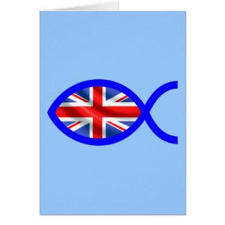 British Flag Christian Fish Symbol Greeting Cards
