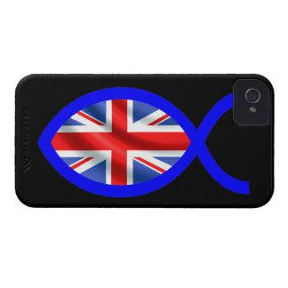 British Flag Christian Fish Symbol iPhone 4 Case-Mate Cases