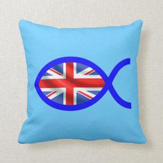 British Flag Christian Fish Symbol Throw Pillows