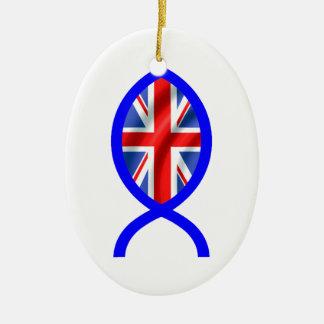 British Flag Christian Fish Symbol Christmas Ornament