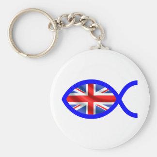 British Flag Christian Fish Symbol Key Chain
