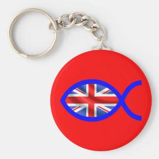 British Flag Christian Fish Symbol Keychain