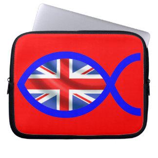 British Flag Christian Fish Symbol Laptop Computer Sleeve
