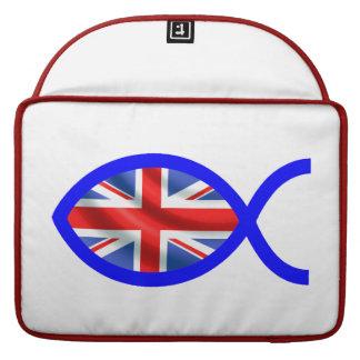 British Flag Christian Fish Symbol MacBook Pro Sleeve