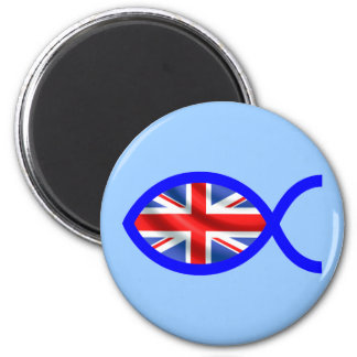 British Flag Christian Fish Symbol Fridge Magnet