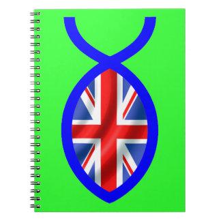 British Flag Christian Fish Symbol Notebook