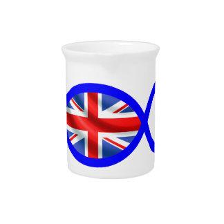 British Flag Christian Fish Symbol Drink Pitcher