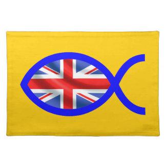 British Flag Christian Fish Symbol Place Mats