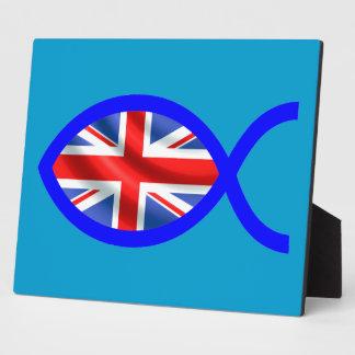 British Flag Christian Fish Symbol Photo Plaques