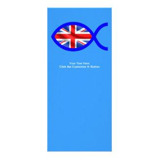 British Flag Christian Fish Symbol Rack Card Template