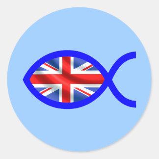 British Flag Christian Fish Symbol Sticker