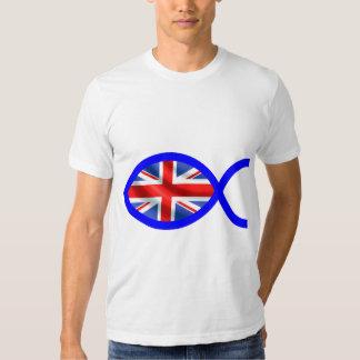 British Flag Christian Fish Symbol T Shirts