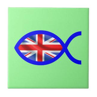 British Flag Christian Fish Symbol Tiles