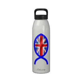 British Flag Christian Fish Symbol Drinking Bottle