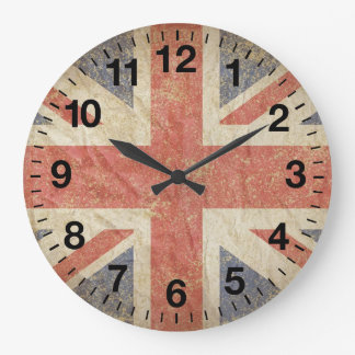 British Flag Distressed Large Clock
