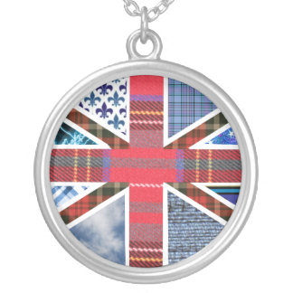 British Flag Fabric Patchwork Pattern Union Jack Silver Plated Necklace