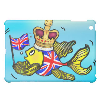 British Flag Fish wearing a crown funny cartoon iPad Mini Case