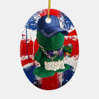 British Flag Grafitti Fonty Christmas Ornament