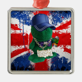 British Flag Grafitti Fonty Silver-Colored Square Decoration