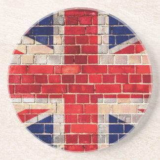 British flag on a brick wall coaster
