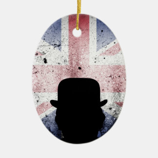 British flag on a grunge corrugated background. ceramic oval decoration