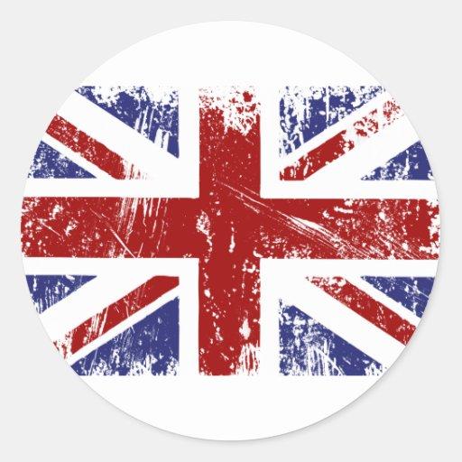 British Flag Punk Grunge Round Stickers