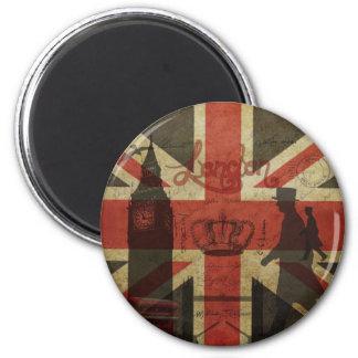 British Flag, Red Bus, Big Ben & Authors 6 Cm Round Magnet