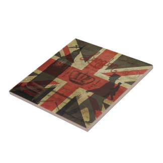 British Flag, Red Bus, Big Ben & Authors Small Square Tile